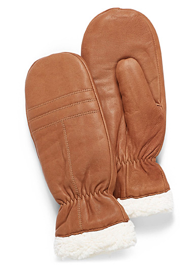 Sherpa leather mittens