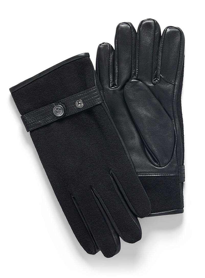Brume Black Leather and wool gloves for men