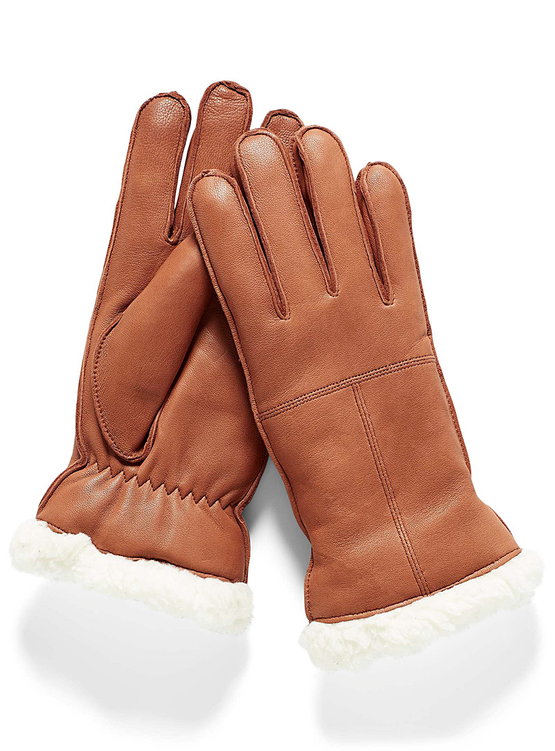 Brume Honey Colwood sherpa-cuff leather gloves for women