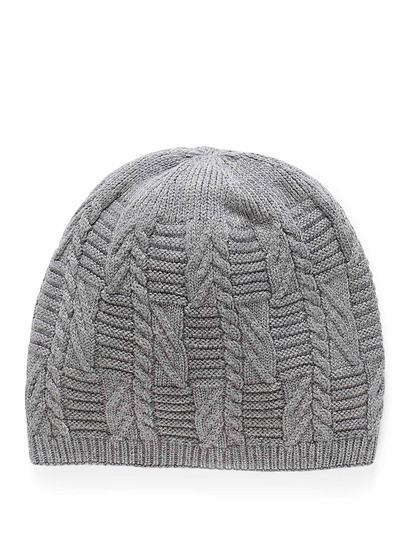 Brume Silver Plush cable knit tuque for women