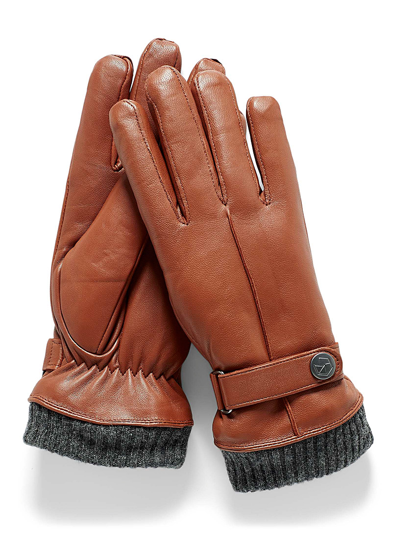 Brume Honey Bromont knit-cuff leather gloves for women