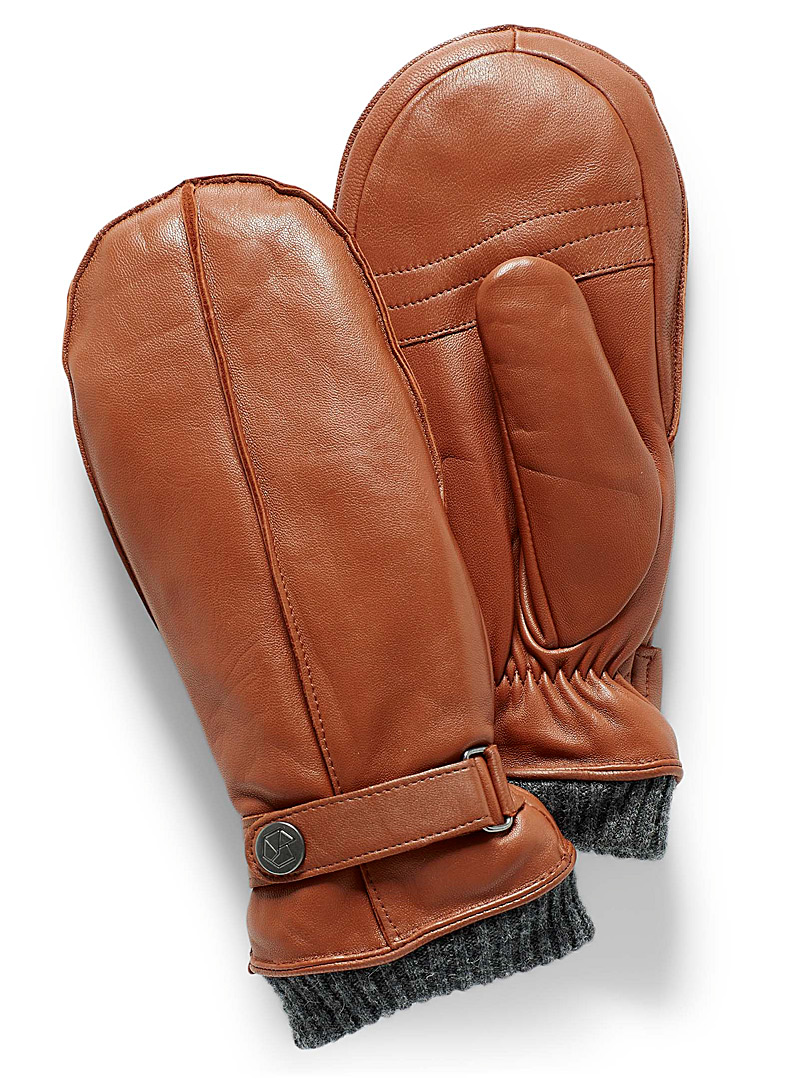Brume Honey Bromont knit-cuff leather mittens for women