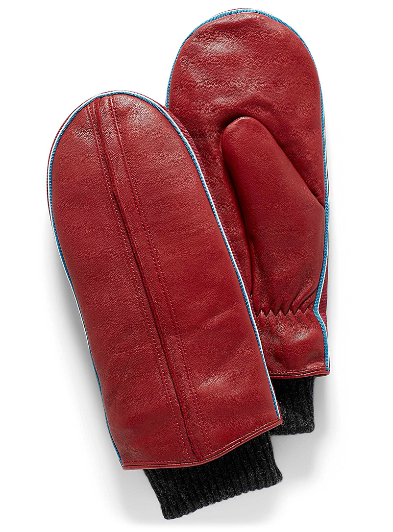 Brume Red Upper Canada alpine leather mittens for women