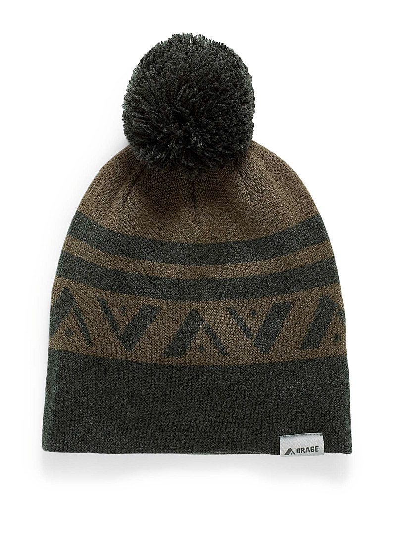 Orage Mossy Green Signature jacquard pompom tuque for women