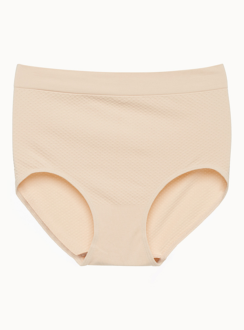 Textured high-rise panty - High waist - Tan