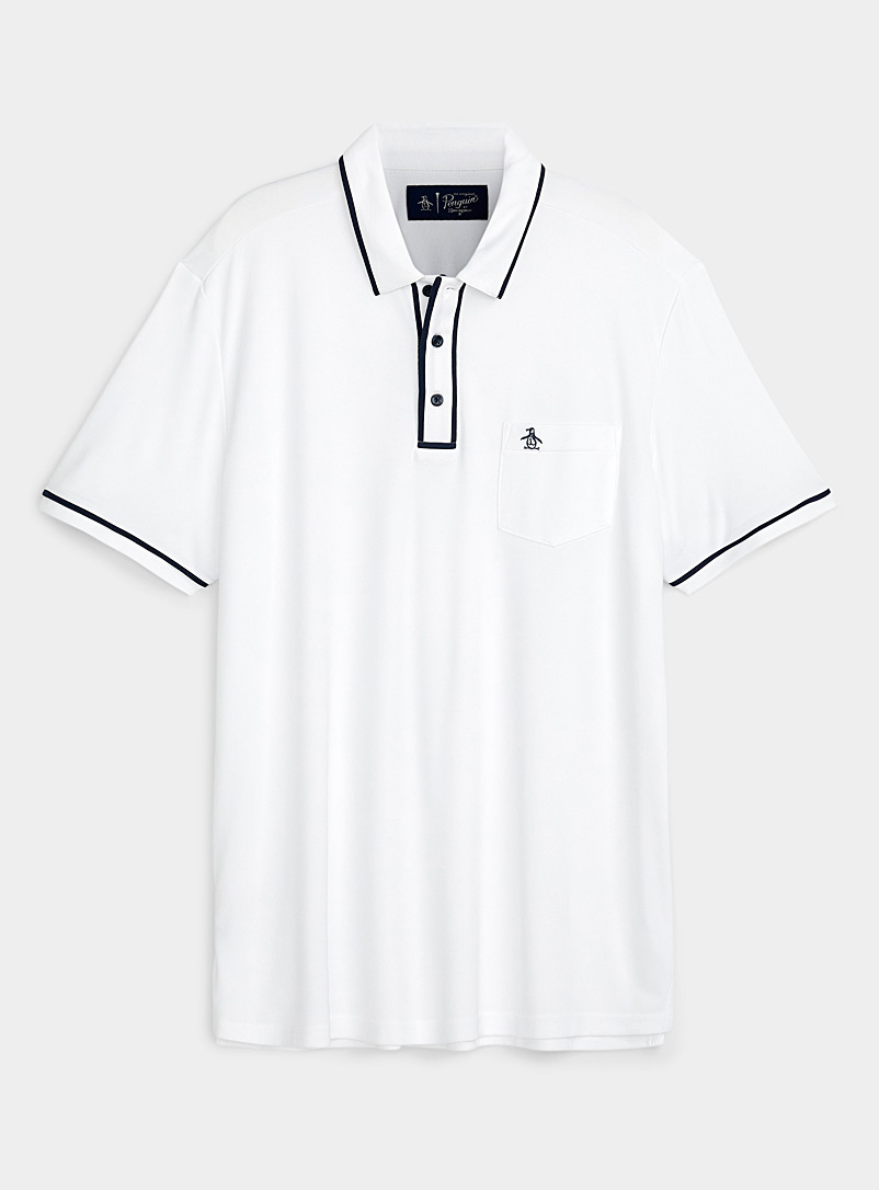 Penguin White The Earl accent-trim solid polo for men