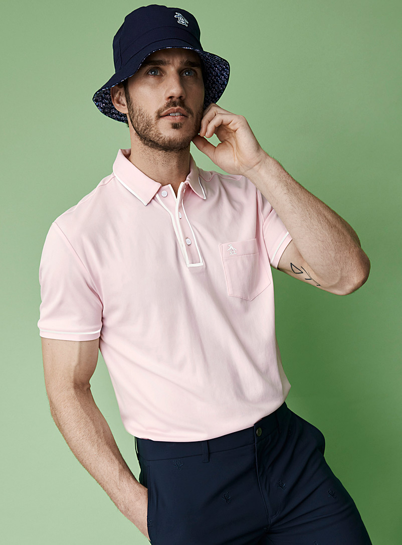 Penguin Dusky Pink The Earl accent-trim solid polo for men