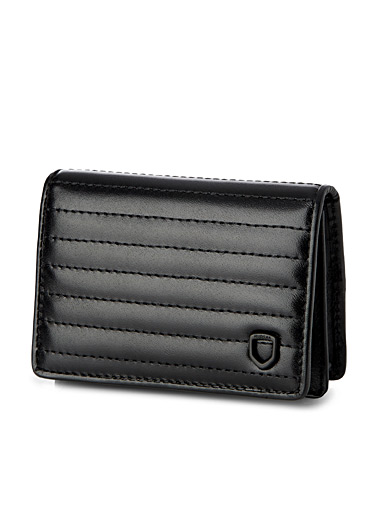 Donny quilted-style leather card holder