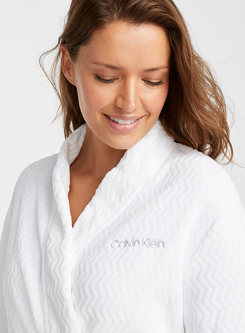 Calvin Klein White Soft textured robe for women