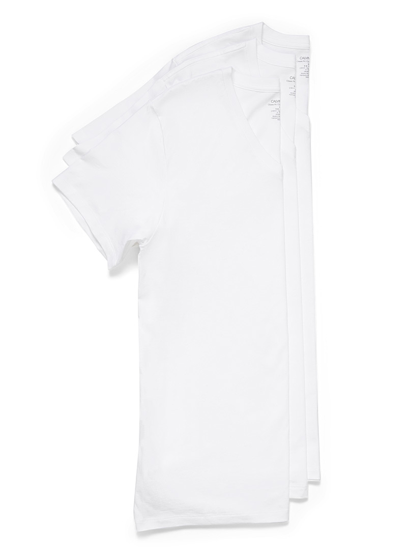 Calvin Klein White V-neck T-shirt 3-pack for men