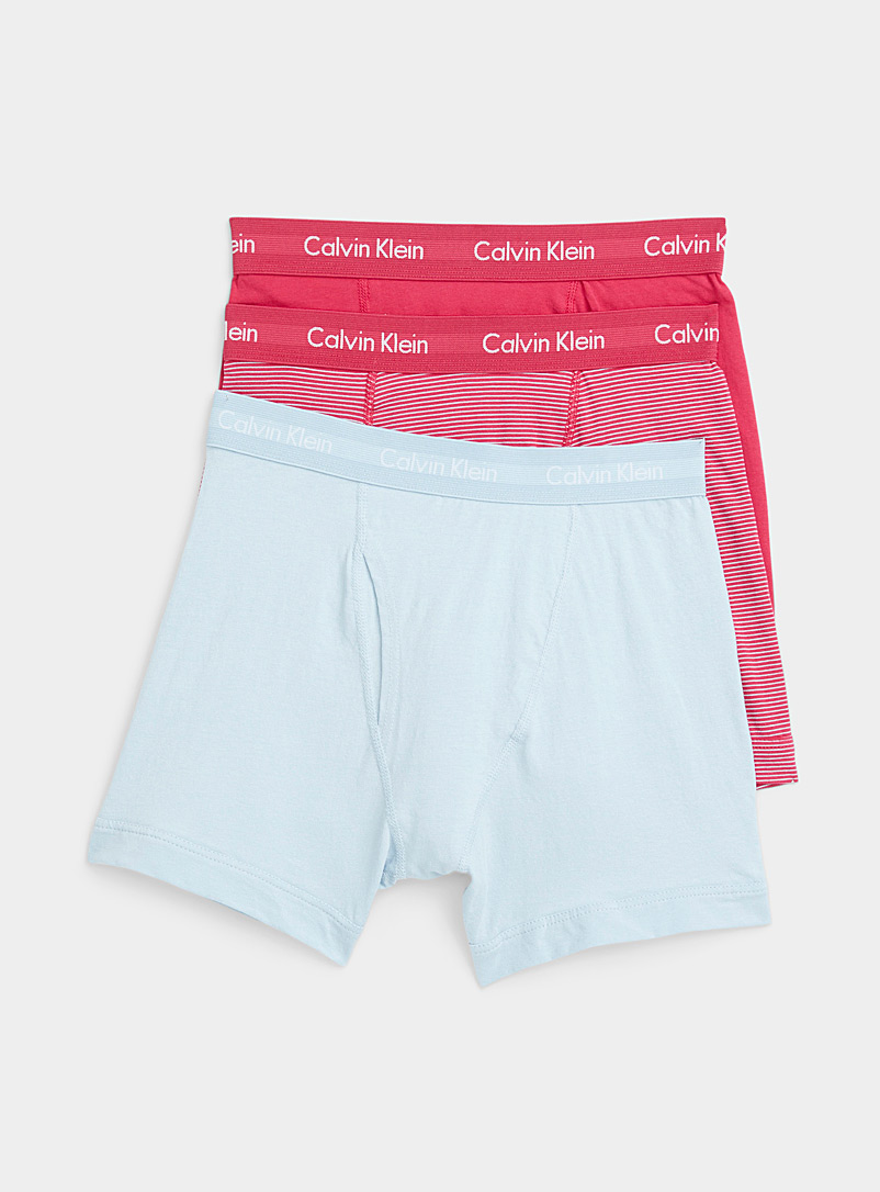 Calvin Klein Medium Pink Solid and striped classic boxer briefs 3-pack  for men