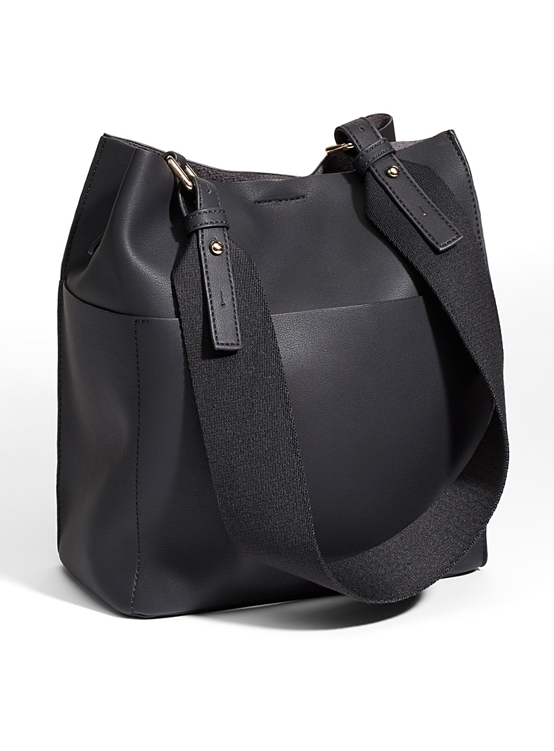 Simons Black Canvas strap tote and clutch for women