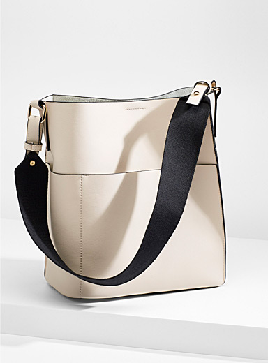 Simons Ivory White Canvas strap tote and clutch for women