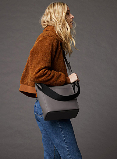 Simons Grey Canvas strap tote and clutch for women