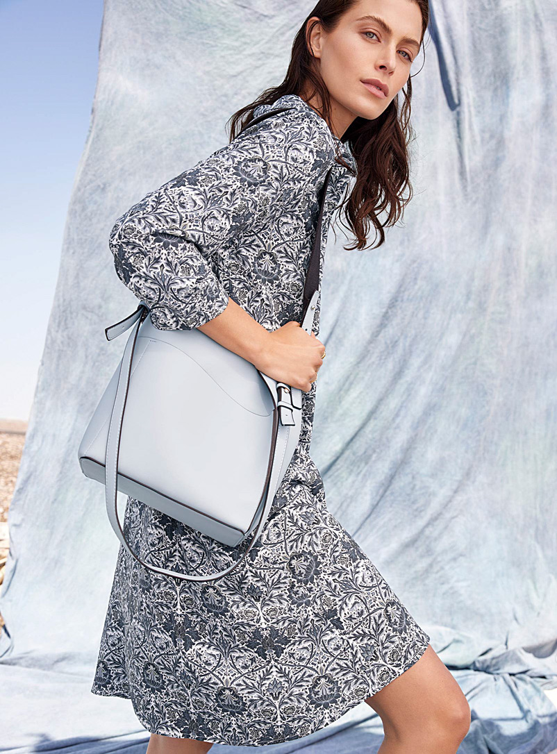 Simons Baby Blue Canvas-strap tote and clutch for women