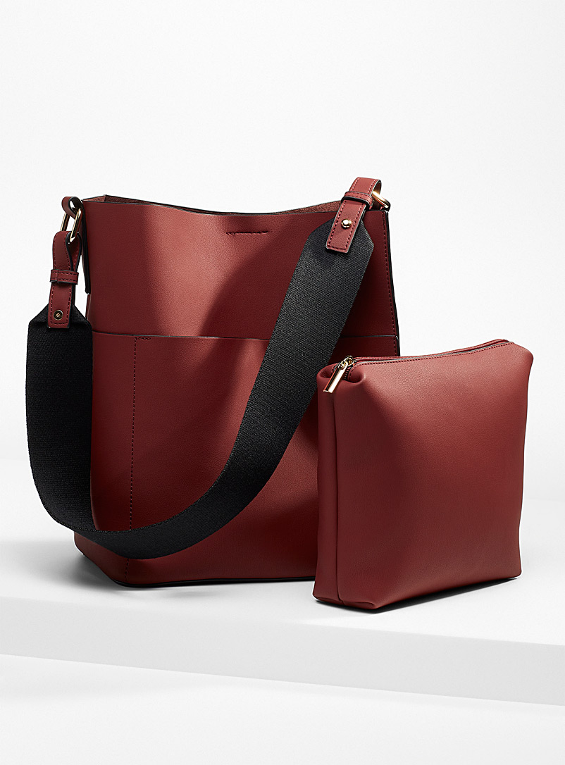 Simons Ruby Red Canvas strap tote and clutch for women