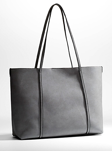 Faux-leather tote and clutch