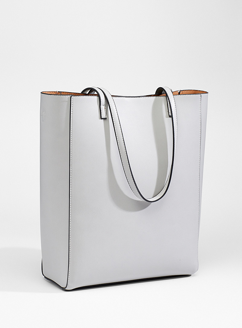 Simons Light Grey Faux-leather roomy tote for women