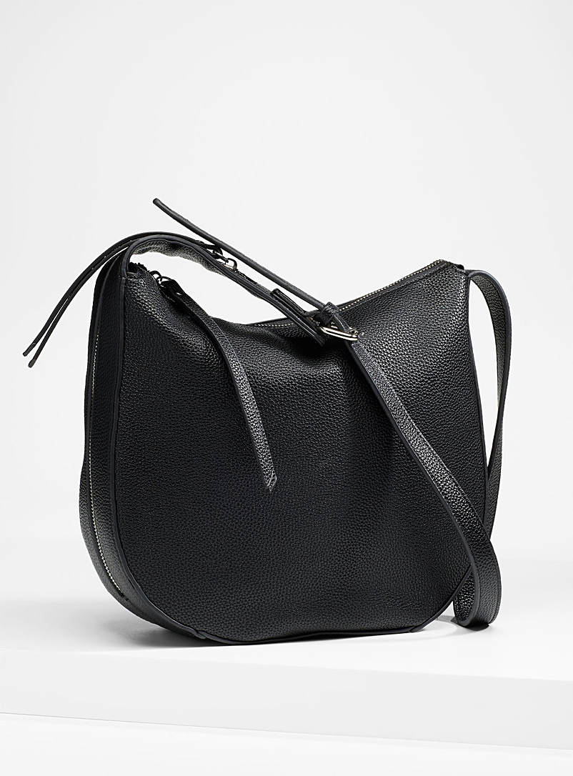 Simons Black Faux-leather saddle bag for women