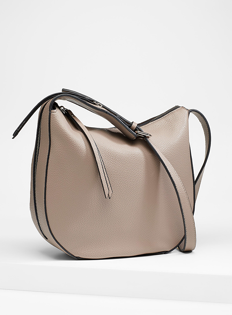 Simons Beige Faux-leather saddle bag for women
