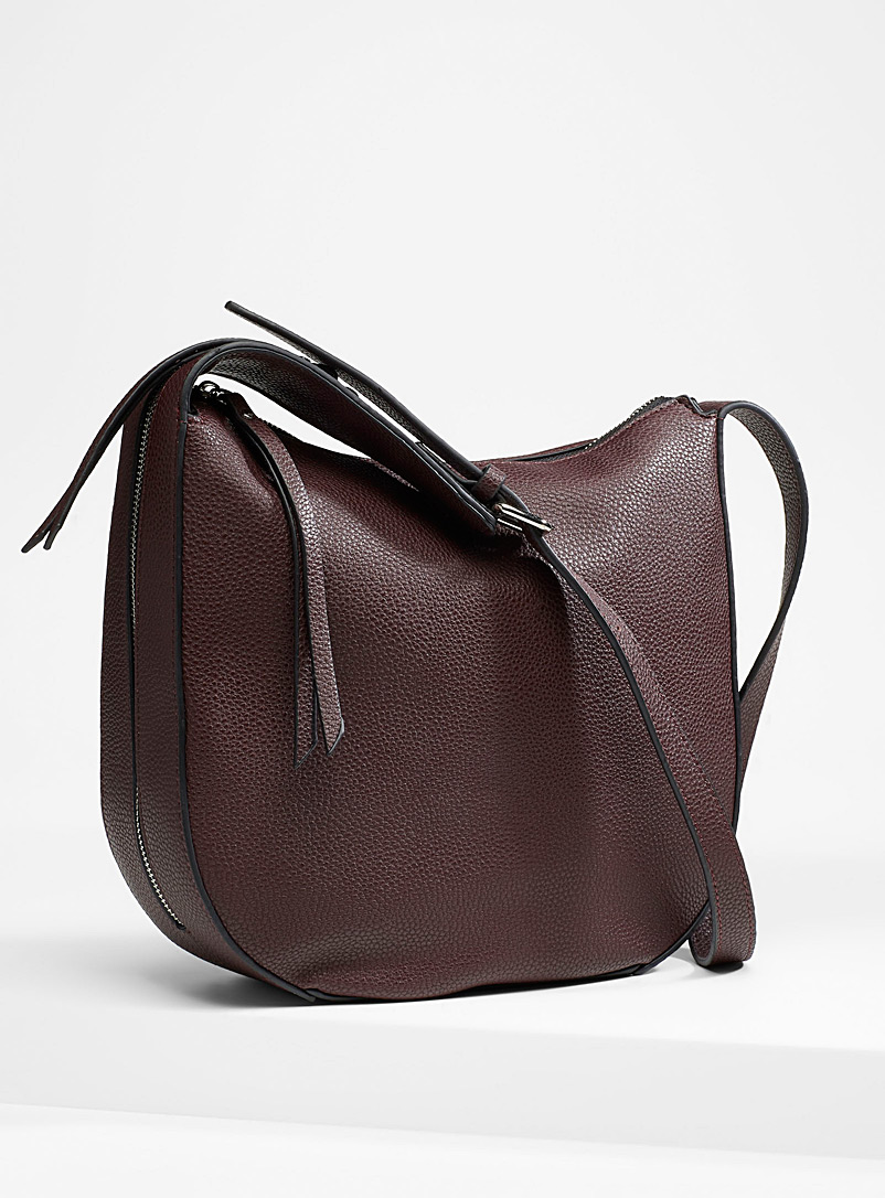 Faux-leather saddle bag