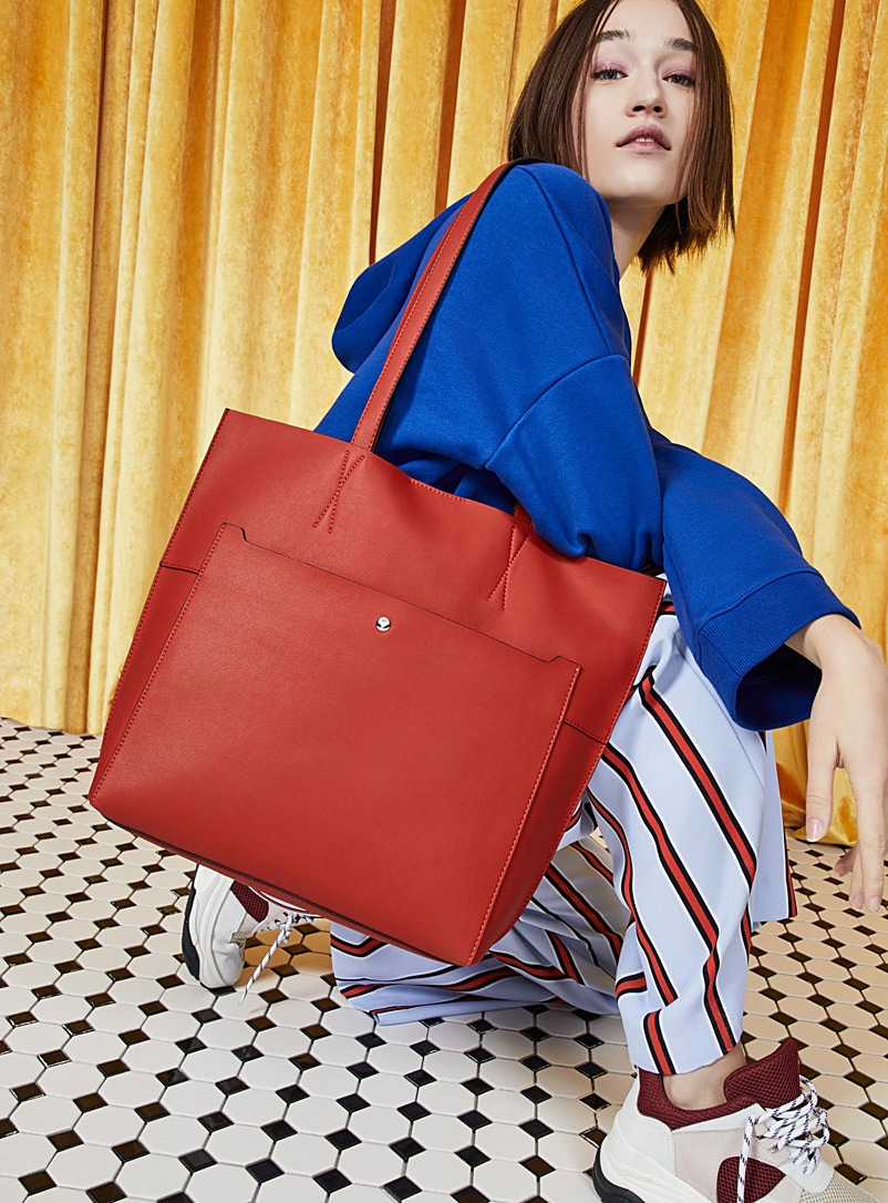 Check-lined tote - Tote Bags - Red