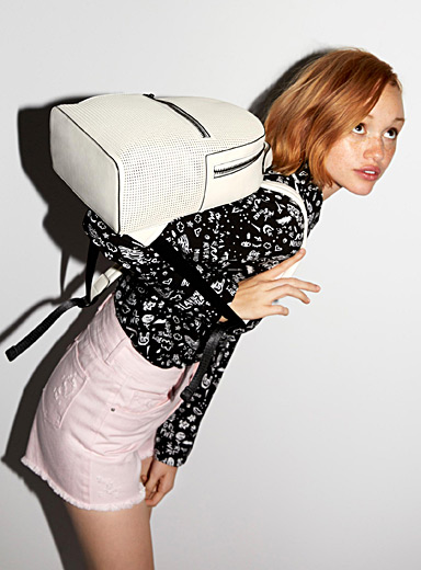 Faux-leather perforated backpack