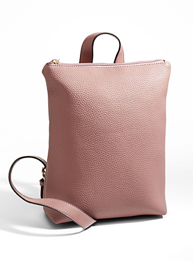 Pebbled faux-leather backpack