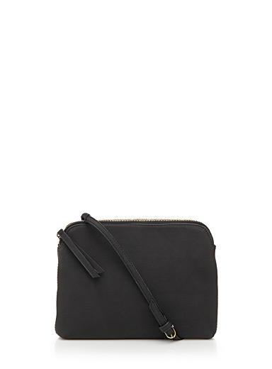 Faux-leather shoulder bag