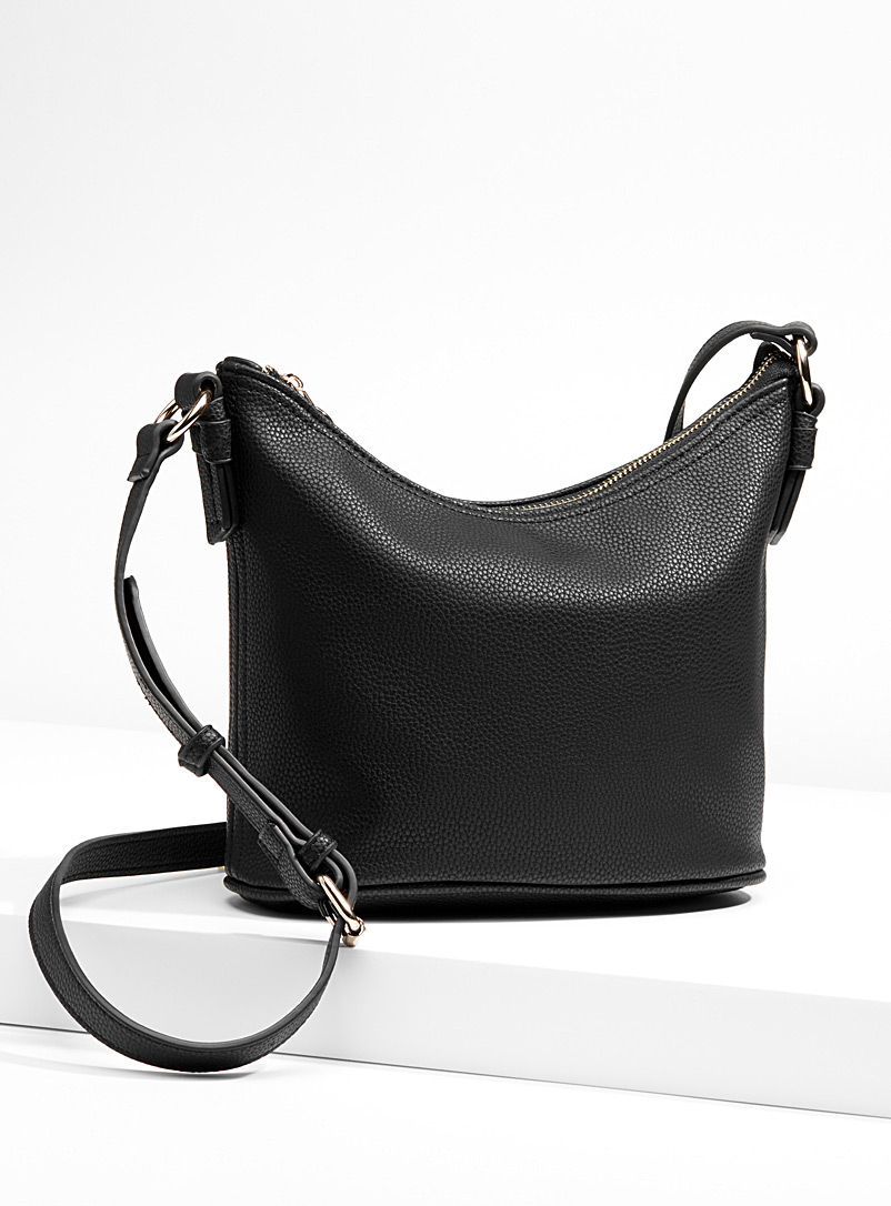 Accent ring shoulder bag - Crossbody Bags - Black