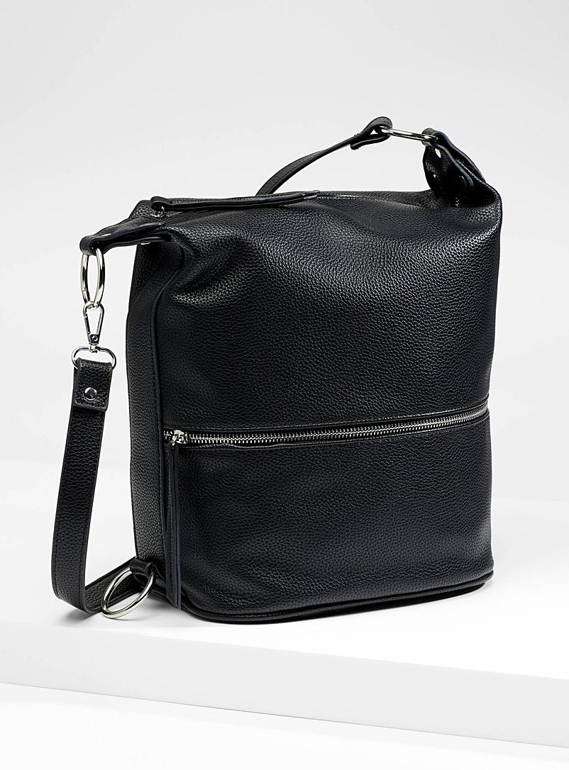 Simons Black Multi-position bucket bag for women