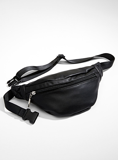 Simons Black Supple faux-leather belt bag for women