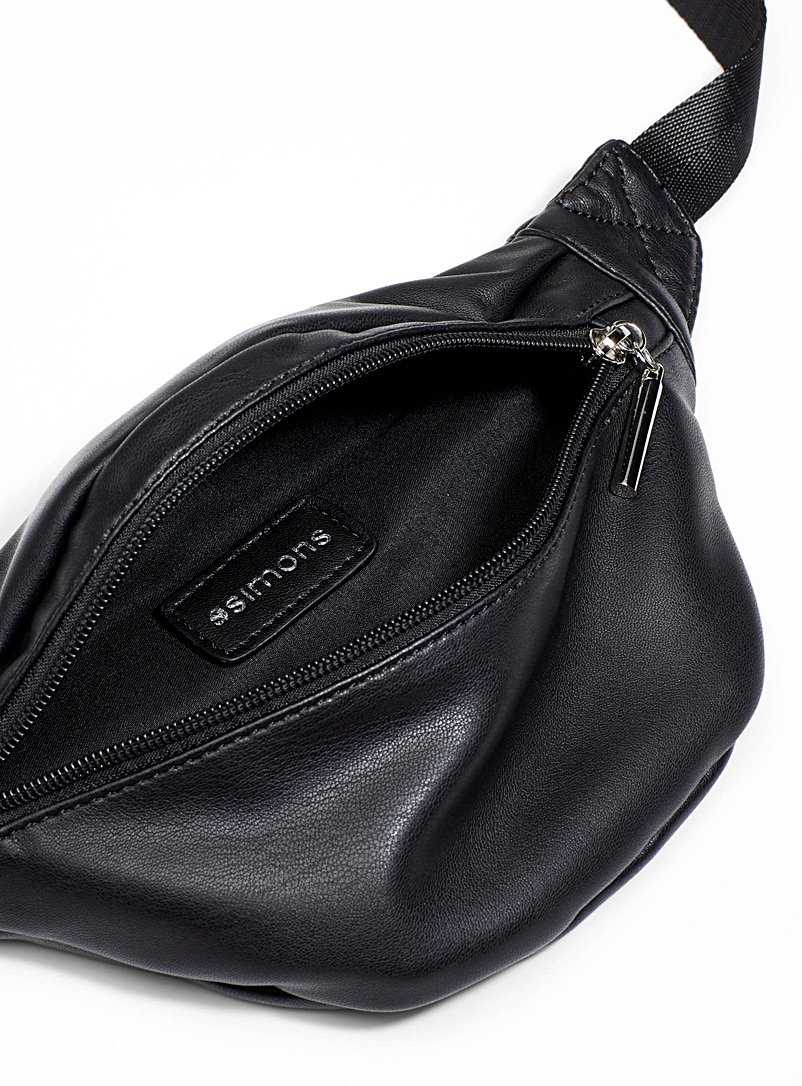 Supple faux-leather belt bag - Belt Bags - Black