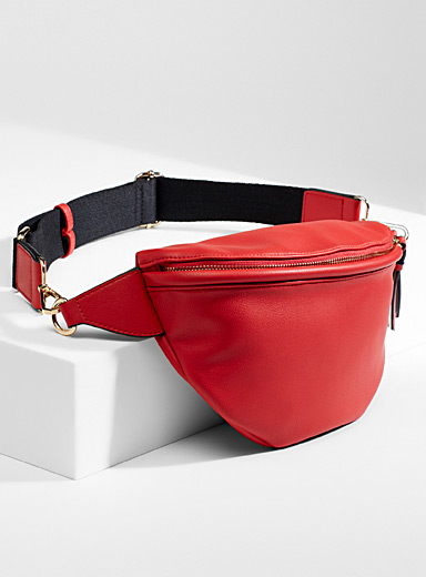 Simons Red Canevas strap large belt bag for women