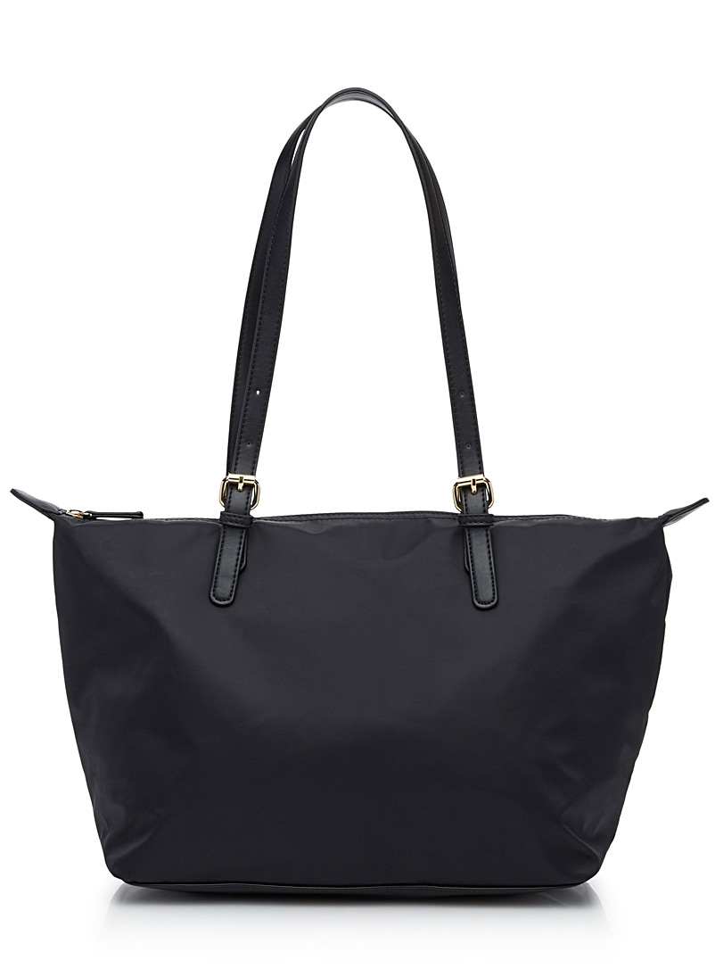 Faux-leather accents nylon tote - Tote bags - Black