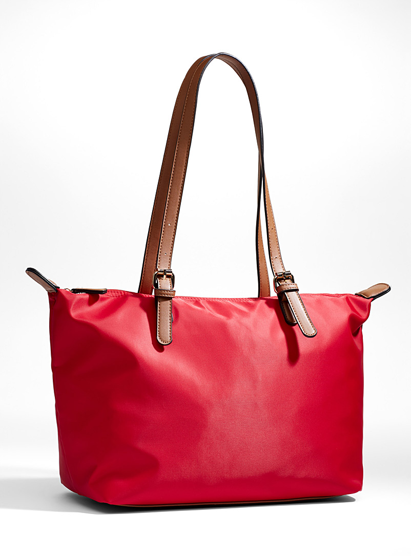 Faux-leather accents nylon tote - Tote Bags - Red