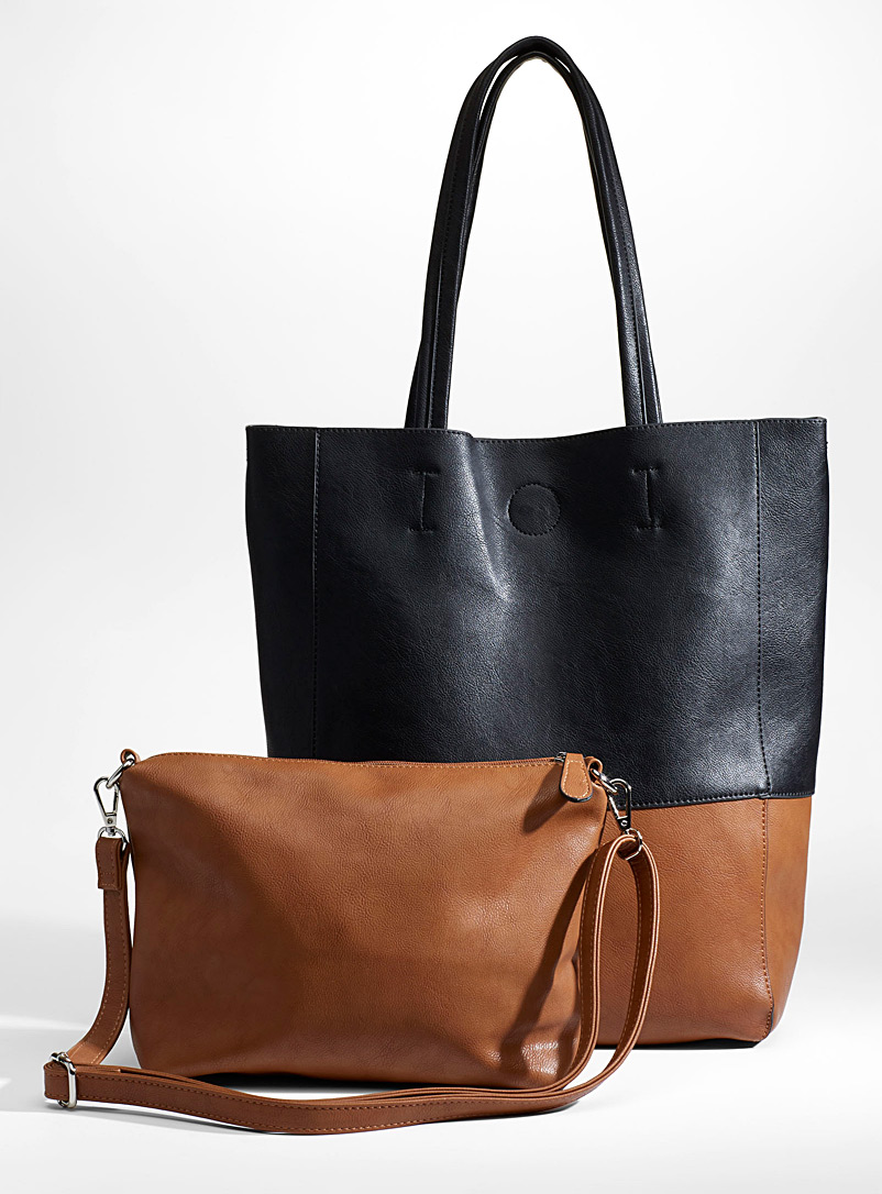Two-tone tote and clutch