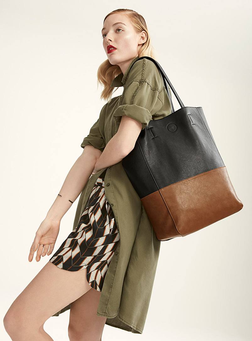 Two-tone tote and clutch - Tote Bags - Oxford