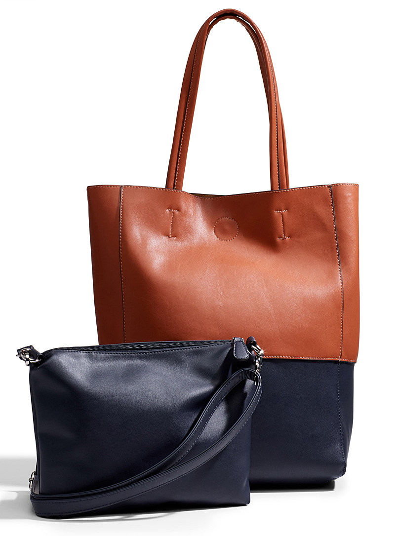 Two-tone tote and clutch - Tote Bags - Copper