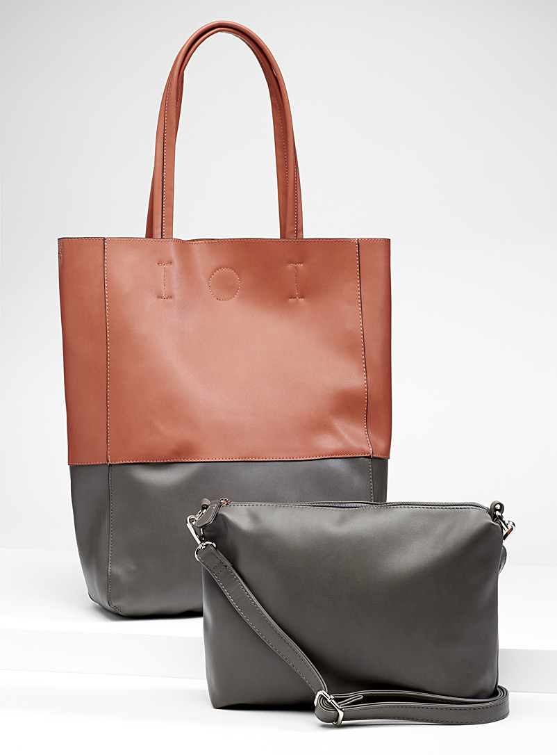 Two-tone tote and clutch - Tote Bags - Charcoal