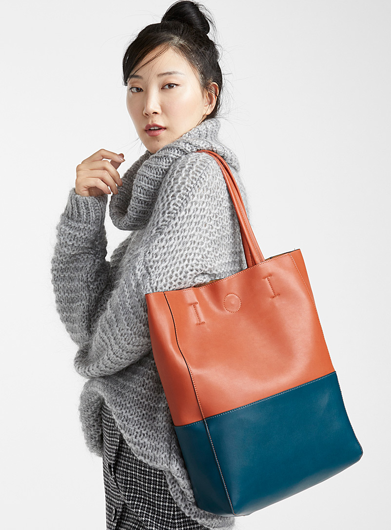 Two-tone tote and clutch - Tote Bags - Teal