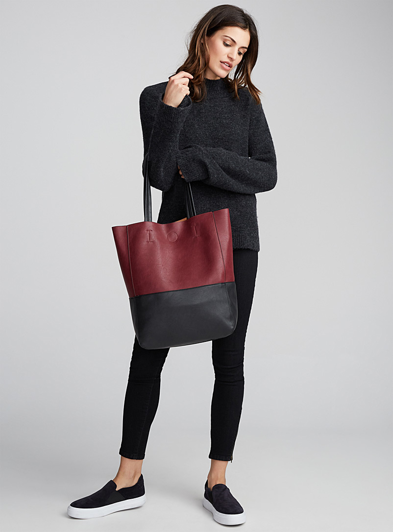 Two-tone tote and clutch - Tote Bags - Light Red