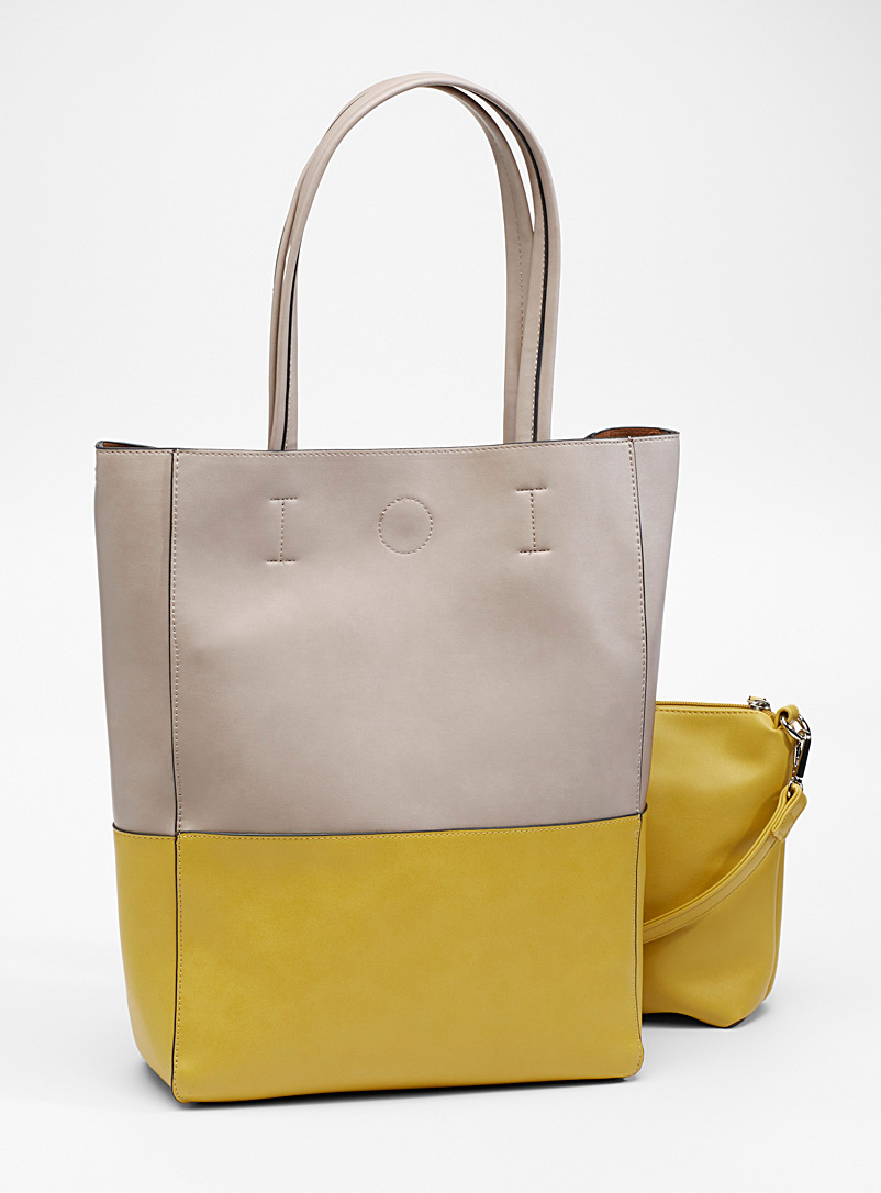 Two-tone tote and clutch - Tote Bags - Bright Yellow