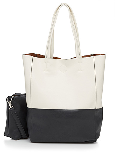 2-in-1 chic two-tone tote