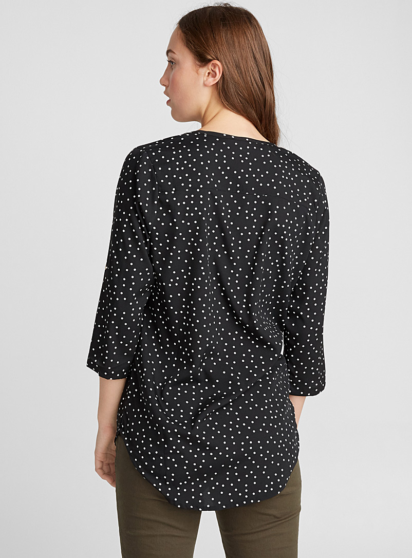 Printed collarless blouse - Blouses - Ivory White