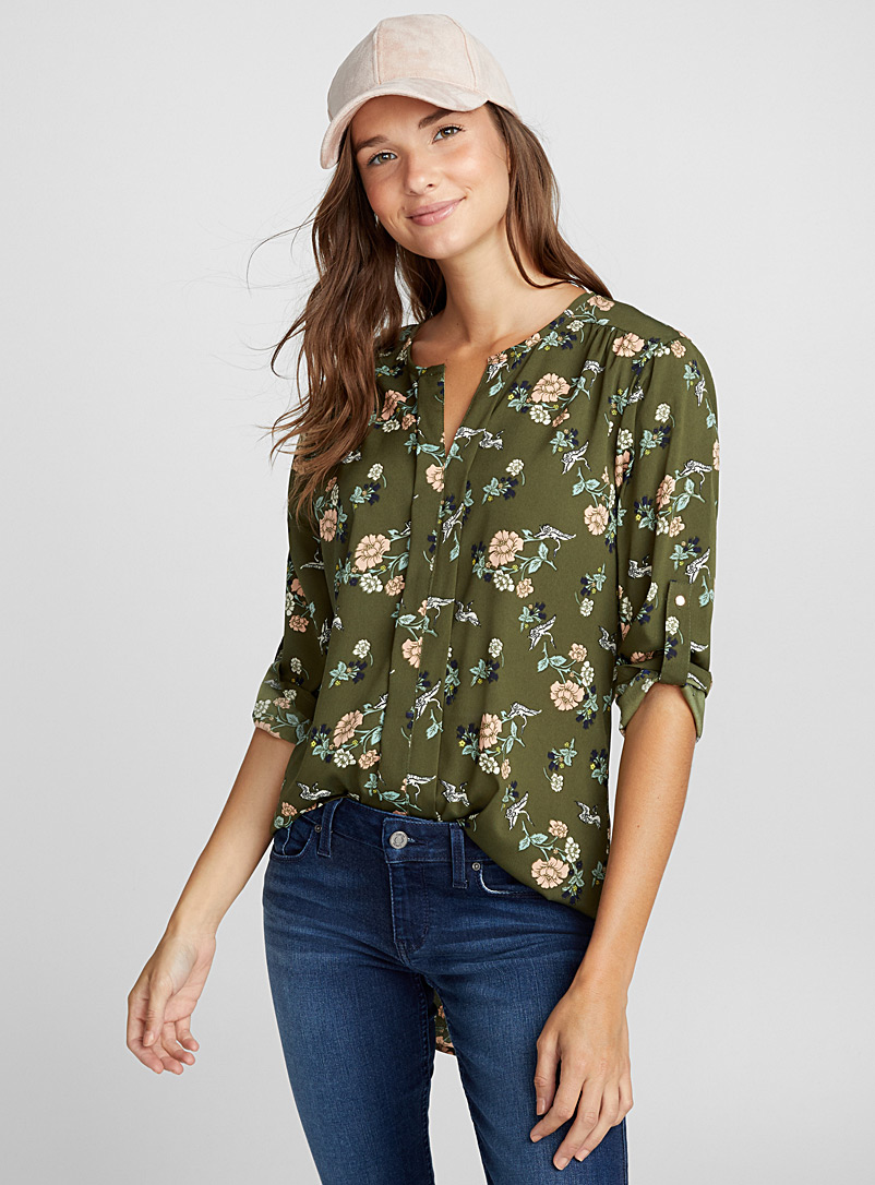 Utility collarless blouse - Blouses - Mossy Green