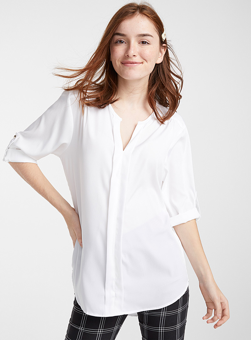 Printed collarless blouse - Blouses - Assorted