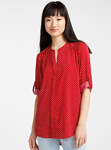 Printed collarless blouse