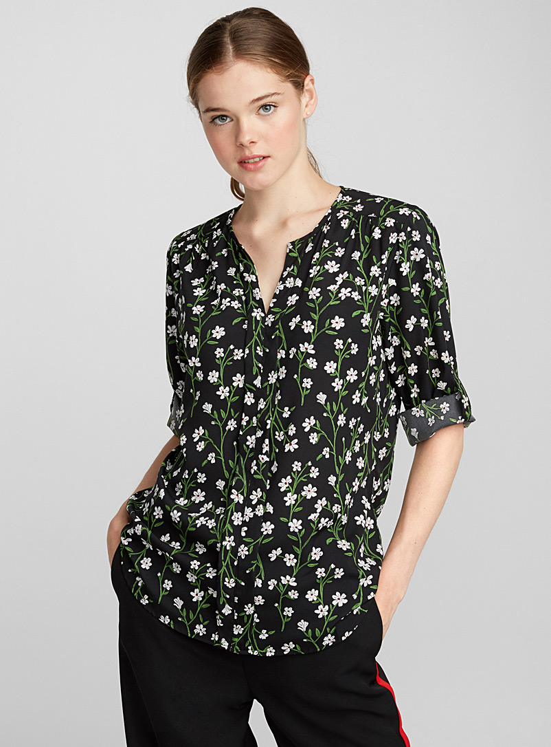 Utility collarless blouse - Blouses - Patterned Green