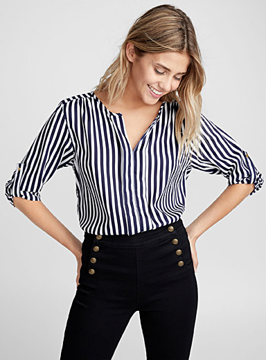 Utility collarless blouse